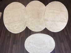 ROMANY GYPSY WASHABLES TRAVELLER MATS FULL SET OF 4 OVAL DESIGN 80X120CM BEIGE